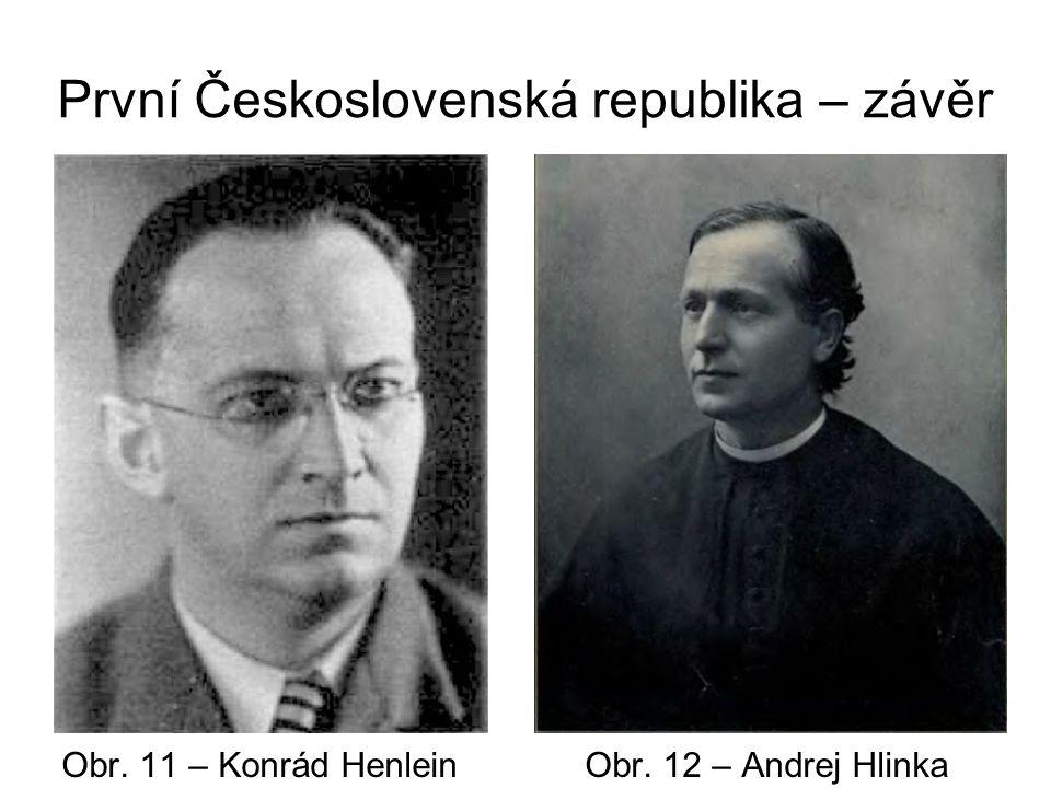 První Československá republika – závěr Obr. 11 – Konrád Henlein Obr. 12 – Andrej Hlinka