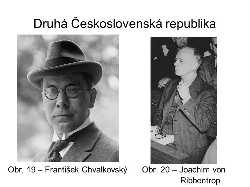Druhá Československá republika Obr. 19 – František Chvalkovský Obr. 20 – Joachim von Ribbentrop