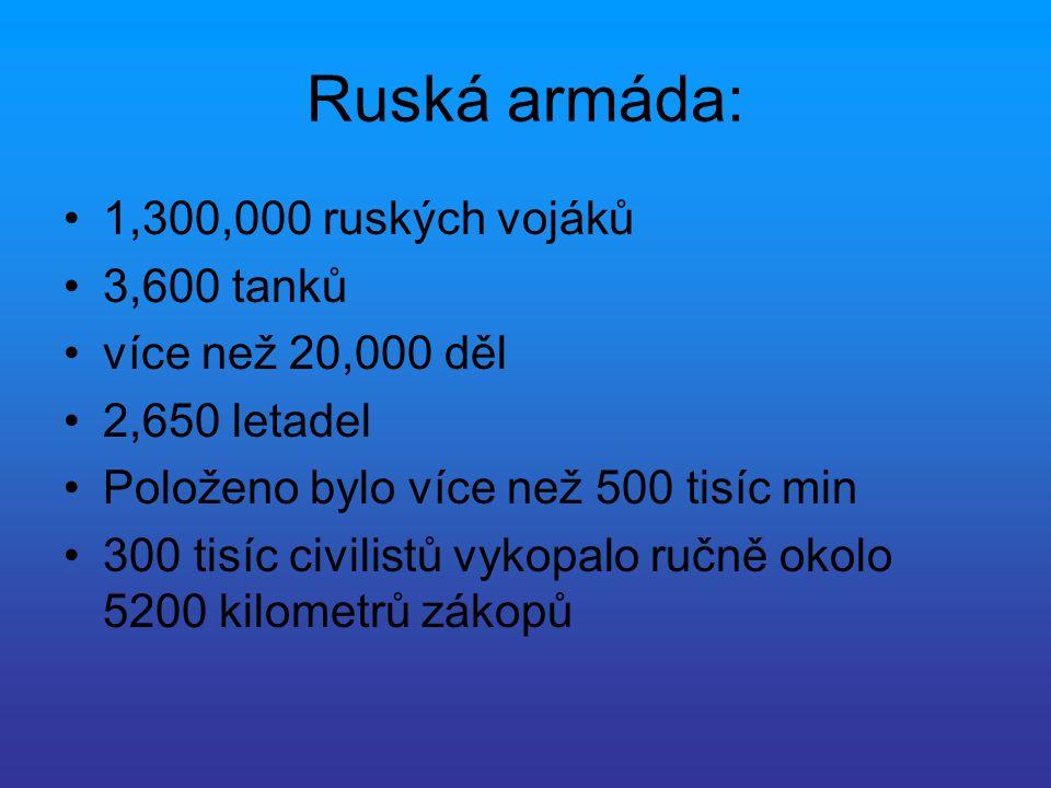 Ruská armáda: 1,300,000 ruských vojáků 3,600 tanků více než 20,000 děl 2,650 letadel Položeno bylo více než 500 tisíc min 300 tisíc civilistů vykopalo