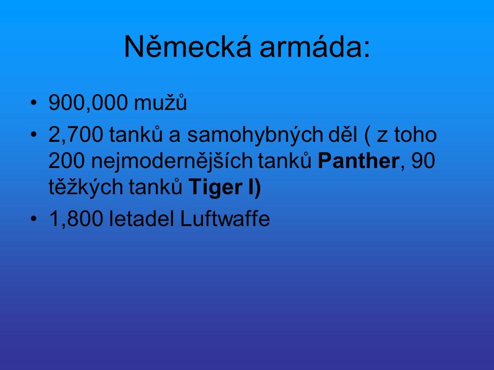 Německá armáda: 900,000 mužů 2,700 tanků a samohybných děl ( z toho 200 nejmodernějších tanků Panther, 90 těžkých tanků Tiger I) 1,800 letadel Luftwaf