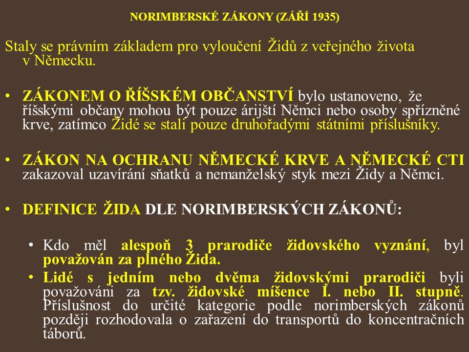 NORIMBERSKÉ ZÁKONY (ZÁŘÍ 1935) Staly se právním základem pro vyloučení Židů z veřejného života v Německu. ZÁKONEM O ŘÍŠSKÉM OBČANSTVÍ bylo ustanoveno,