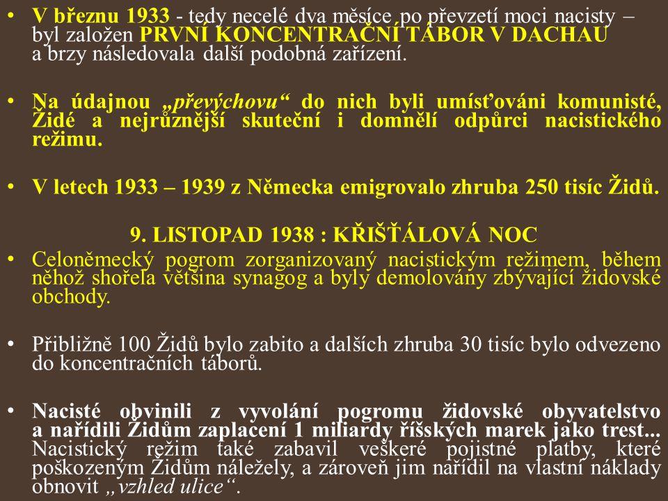 V březnu 1933 - tedy necelé dva měsíce po převzetí moci nacisty – byl založen PRVNÍ KONCENTRAČNÍ TÁBOR V DACHAU a brzy následovala další podobná zaříz