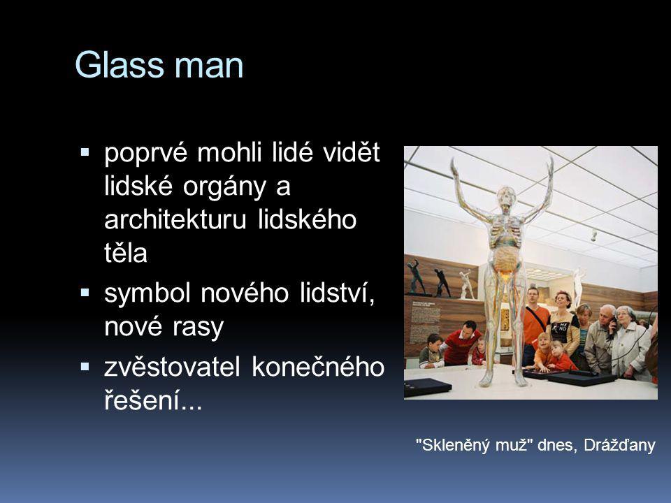 Glass man  poprvé mohli lidé vidět lidské orgány a architekturu lidského těla  symbol nového lidství, nové rasy  zvěstovatel konečného řešení...