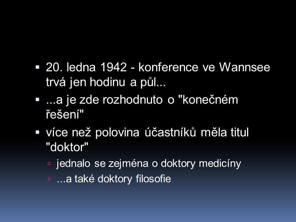  20.ledna 1942 - konference ve Wannsee trvá jen hodinu a půl...