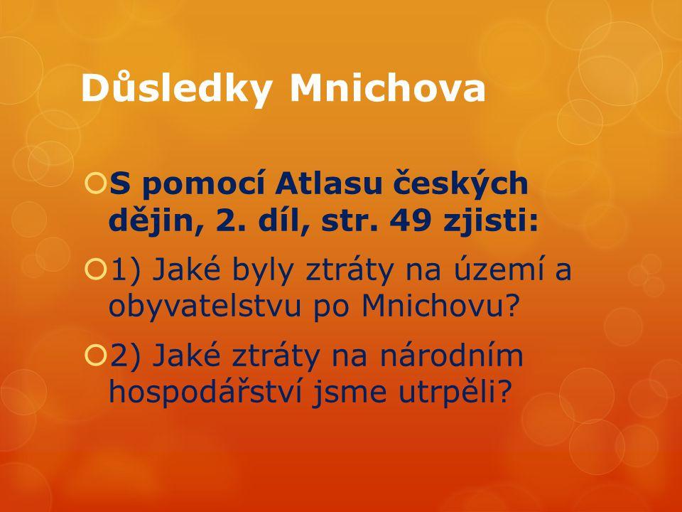 Důsledky Mnichova  S pomocí Atlasu českých dějin, 2.