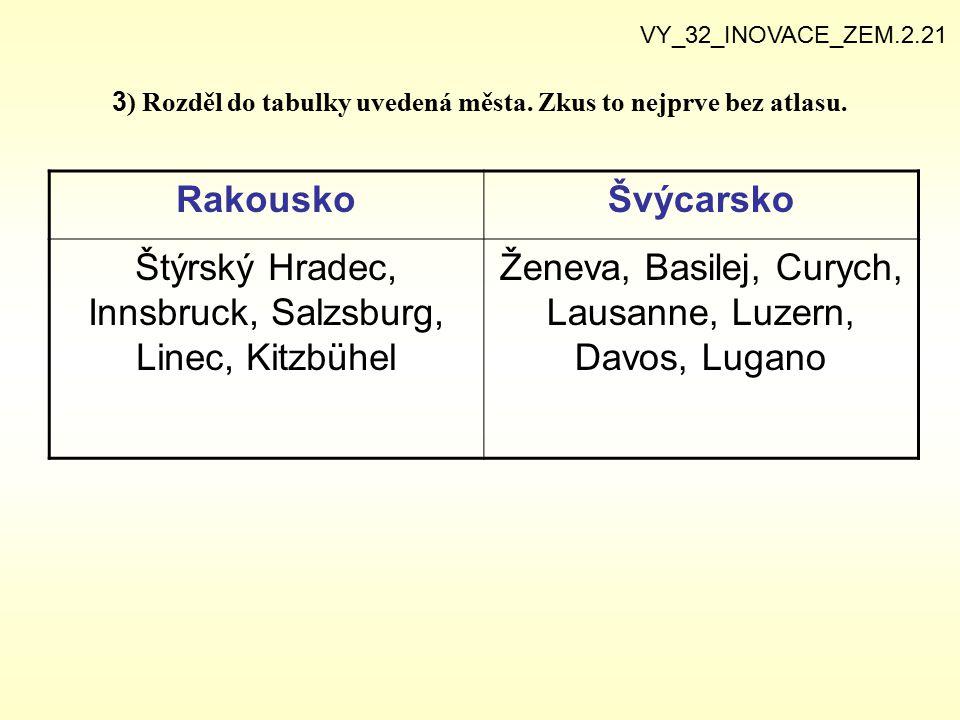 3 ) Rozděl do tabulky uvedená města. Zkus to nejprve bez atlasu. VY_32_INOVACE_ZEM.2.21 RakouskoŠvýcarsko Štýrský Hradec, Innsbruck, Salzsburg, Linec,