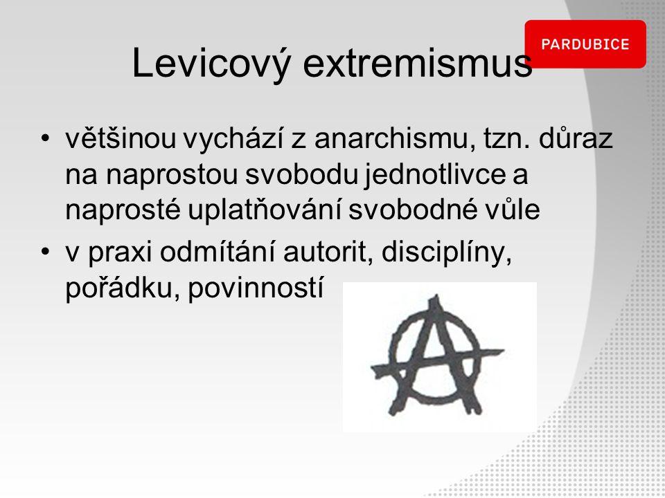 Levicový extremismus většinou vychází z anarchismu, tzn. důraz na naprostou svobodu jednotlivce a naprosté uplatňování svobodné vůle v praxi odmítání