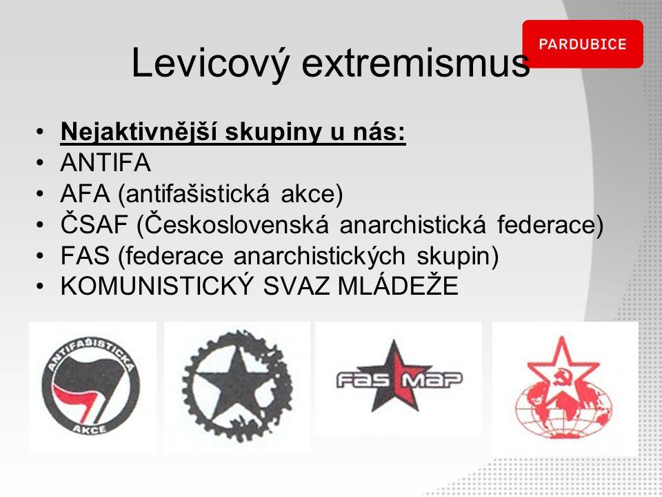 Levicový extremismus Nejaktivnější skupiny u nás: ANTIFA AFA (antifašistická akce) ČSAF (Československá anarchistická federace) FAS (federace anarchis