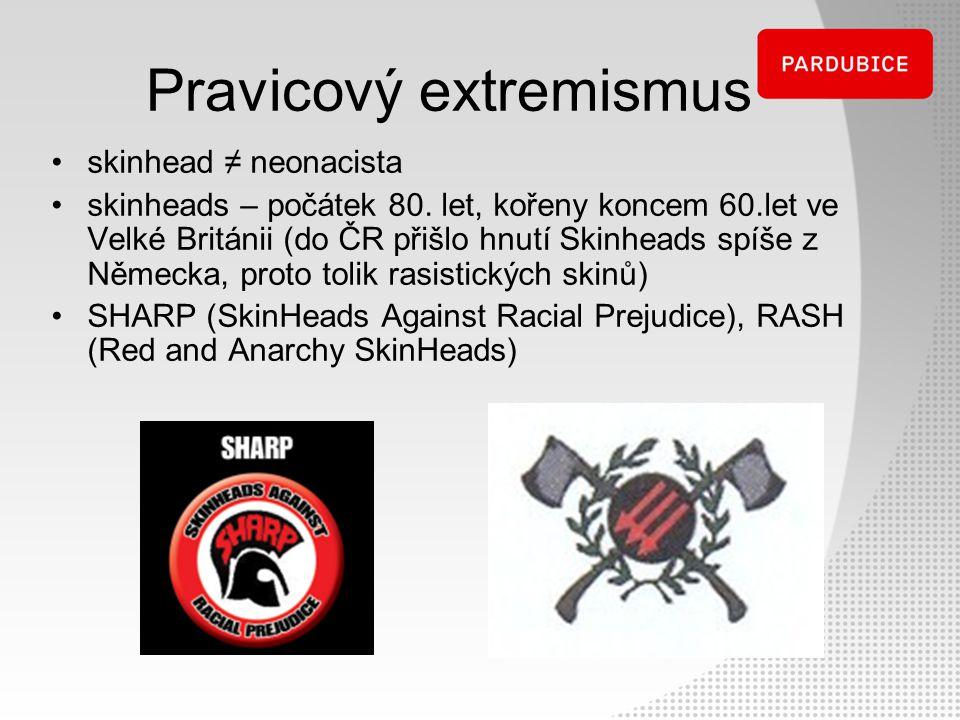 Pravicový extremismus skinhead ≠ neonacista skinheads – počátek 80. let, kořeny koncem 60.let ve Velké Británii (do ČR přišlo hnutí Skinheads spíše z