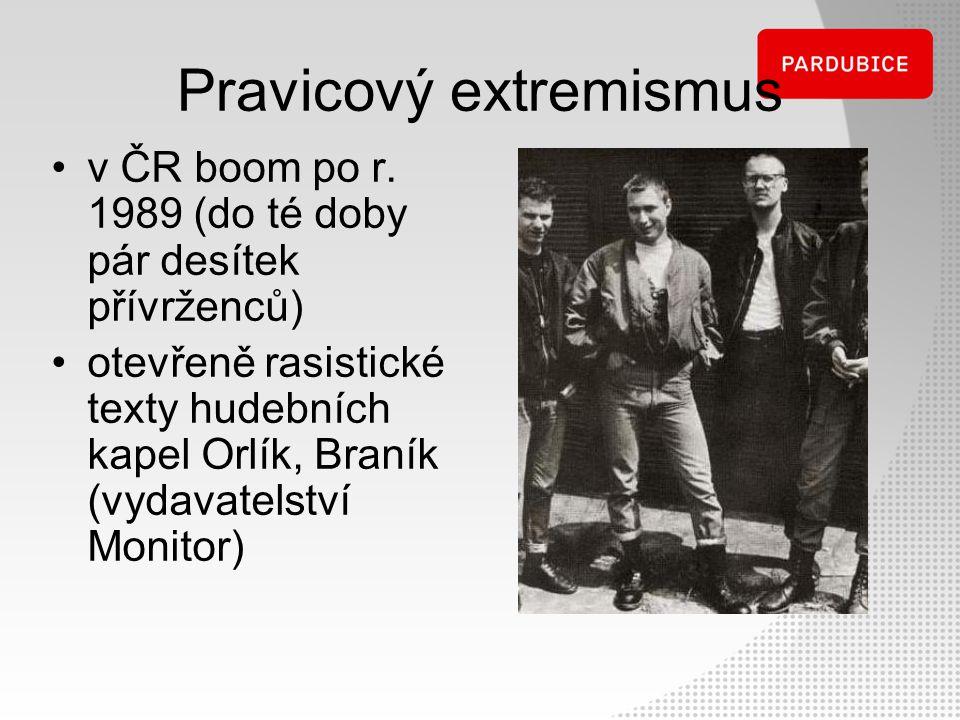 Pravicový extremismus v ČR boom po r. 1989 (do té doby pár desítek přívrženců) otevřeně rasistické texty hudebních kapel Orlík, Braník (vydavatelství