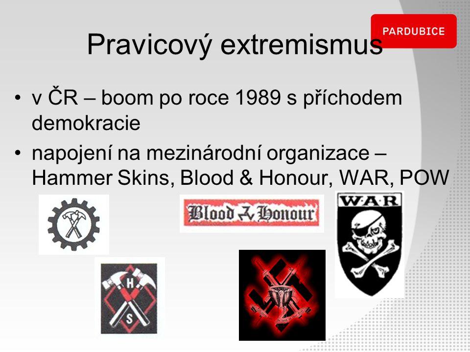 Pravicový extremismus v ČR – boom po roce 1989 s příchodem demokracie napojení na mezinárodní organizace – Hammer Skins, Blood & Honour, WAR, POW