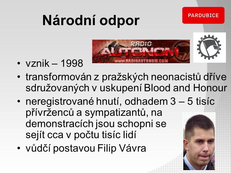 Národní odpor vznik – 1998 transformován z pražských neonacistů dříve sdružovaných v uskupení Blood and Honour neregistrované hnutí, odhadem 3 – 5 tis