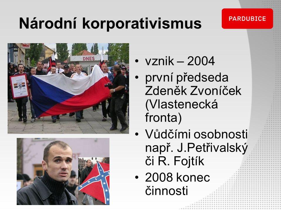 Národní korporativismus vznik – 2004 první předseda Zdeněk Zvoníček (Vlastenecká fronta) Vůdčími osobnosti např. J.Petřivalský či R. Fojtík 2008 konec