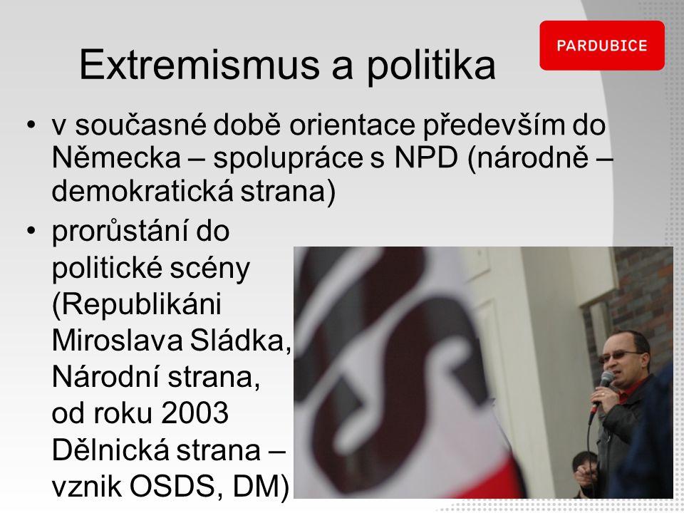 Extremismus a politika v současné době orientace především do Německa – spolupráce s NPD (národně – demokratická strana) prorůstání do politické scény
