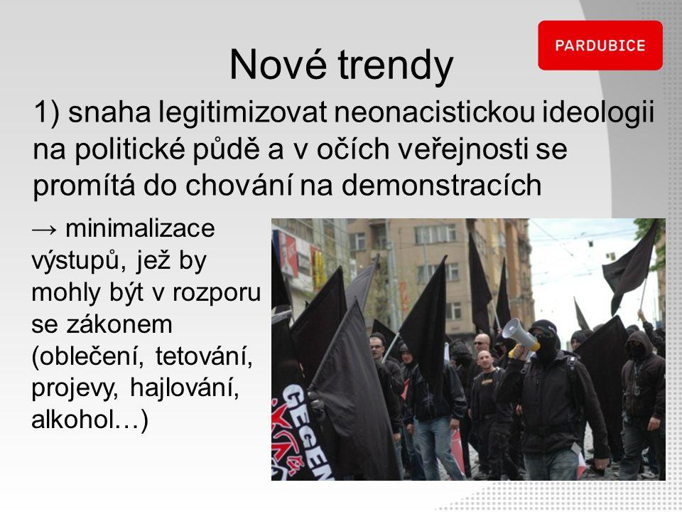 Nové trendy 1) snaha legitimizovat neonacistickou ideologii na politické půdě a v očích veřejnosti se promítá do chování na demonstracích → minimaliza