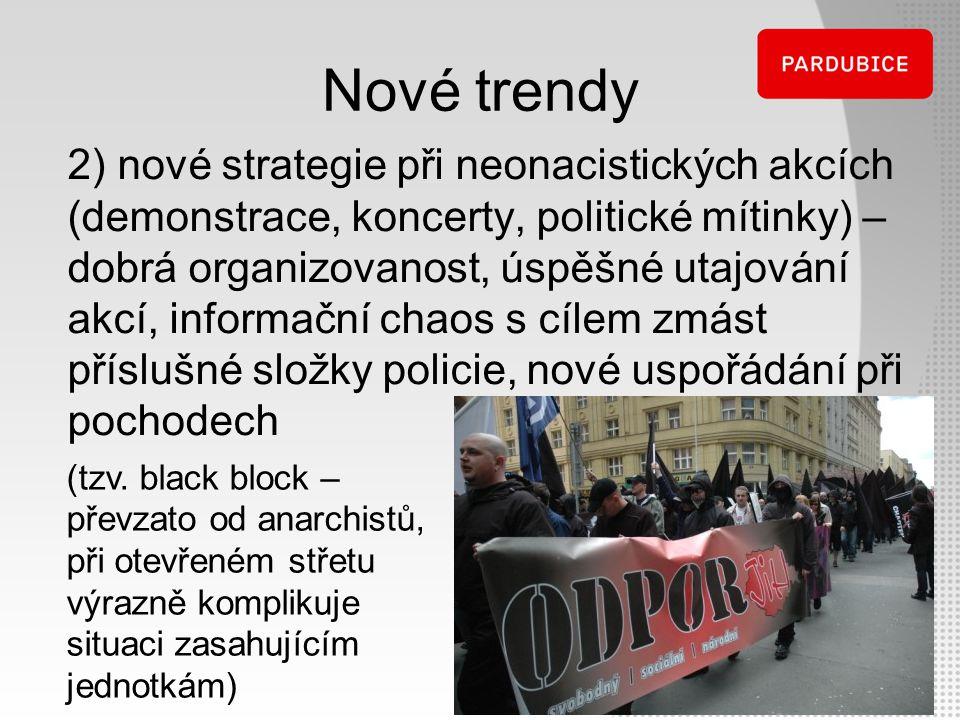 Nové trendy 2) nové strategie při neonacistických akcích (demonstrace, koncerty, politické mítinky) – dobrá organizovanost, úspěšné utajování akcí, in