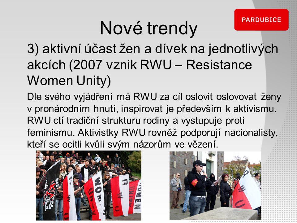 Nové trendy 3) aktivní účast žen a dívek na jednotlivých akcích (2007 vznik RWU – Resistance Women Unity) Dle svého vyjádření má RWU za cíl oslovit os