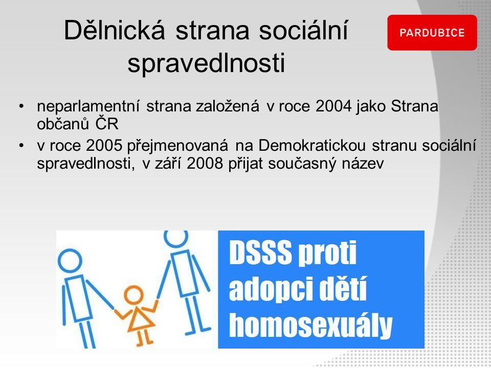 Dělnická strana sociální spravedlnosti neparlamentní strana založená v roce 2004 jako Strana občanů ČR v roce 2005 přejmenovaná na Demokratickou stran