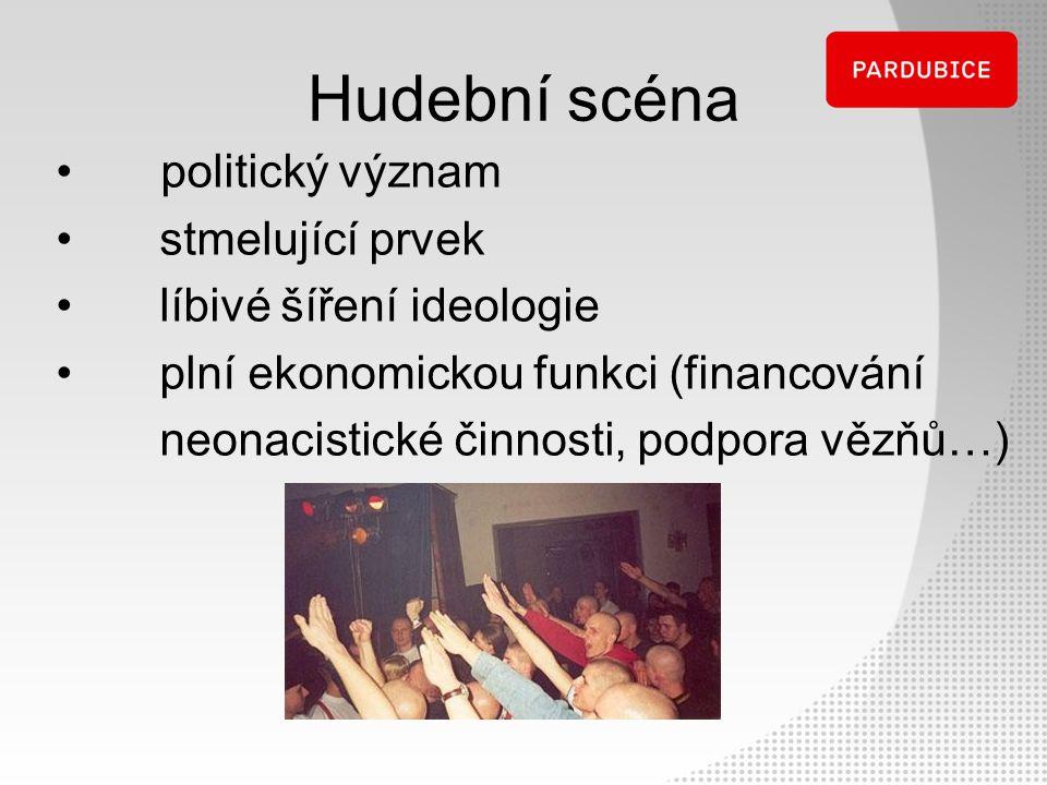 Hudební scéna politický význam stmelující prvek líbivé šíření ideologie plní ekonomickou funkci (financování neonacistické činnosti, podpora vězňů…)