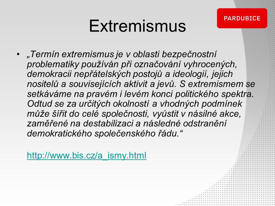 """""""Termín extremismus je v oblasti bezpečnostní problematiky používán při označování vyhrocených, demokracii nepřátelských postojů a ideologií, jejich n"""
