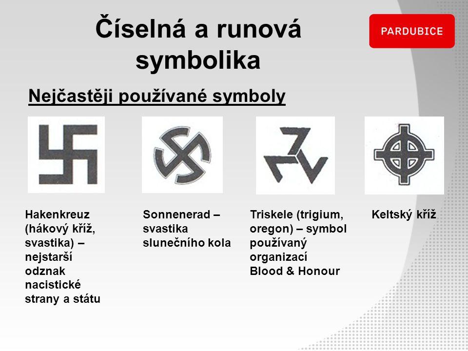 Číselná a runová symbolika Nejčastěji používané symboly Keltský křížSonnenerad – svastika slunečního kola Hakenkreuz (hákový kříž, svastika) – nejstar