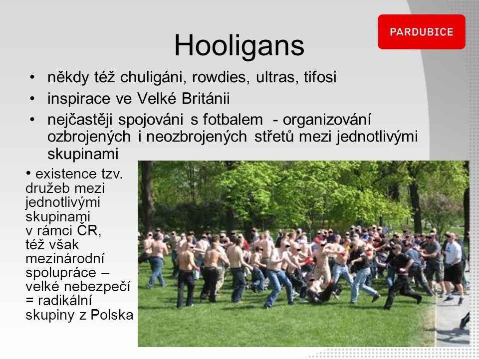 Hooligans někdy též chuligáni, rowdies, ultras, tifosi inspirace ve Velké Británii nejčastěji spojováni s fotbalem - organizování ozbrojených i neozbr