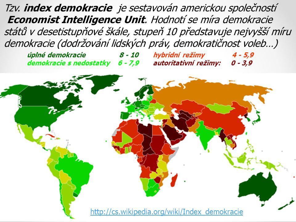 úplné demokracie 8 - 10 demokracie s nedostatky 6 - 7,9 hybridní režimy 4 - 5,9 autoritativní režimy: 0 - 3,9 Tzv. index demokracie je sestavován amer