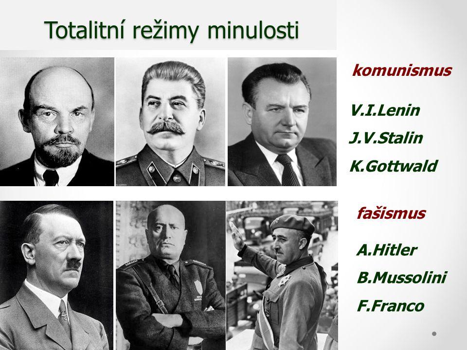 Totalitní režimy minulosti Totalitní režimy minulosti V.I.Lenin J.V.Stalin K.Gottwald A.Hitler B.Mussolini F.Franco komunismus fašismus