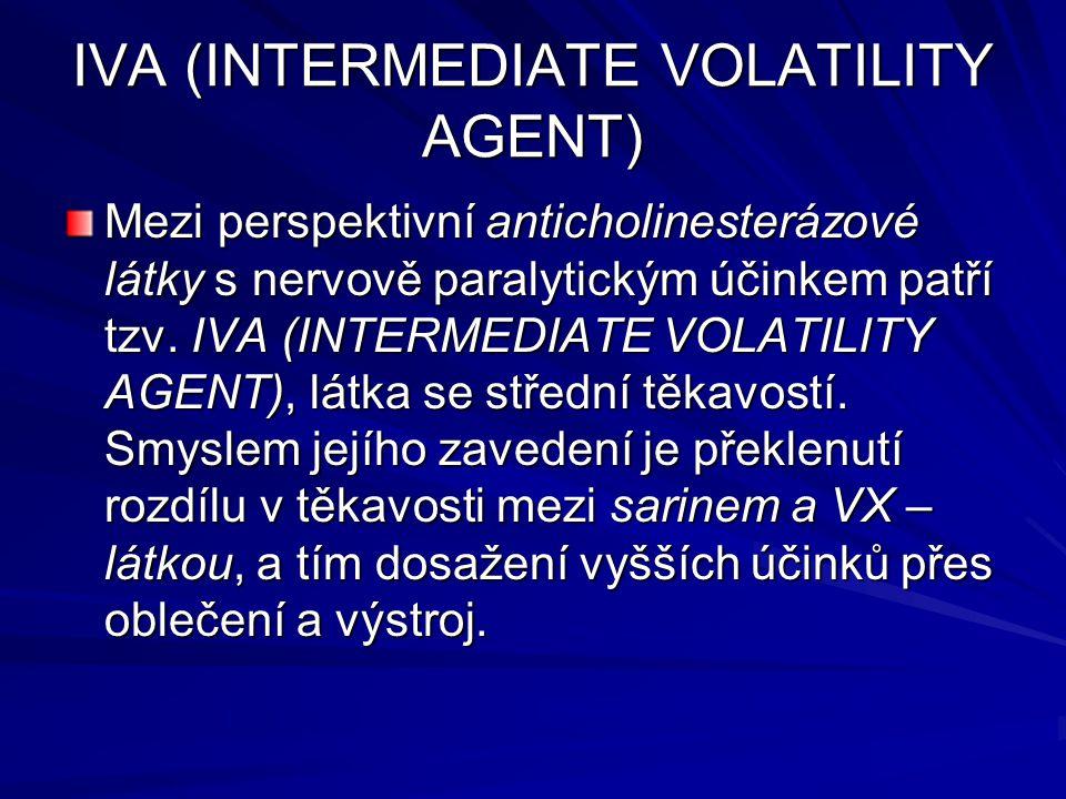IVA (INTERMEDIATE VOLATILITY AGENT) Mezi perspektivní anticholinesterázové látky s nervově paralytickým účinkem patří tzv. IVA (INTERMEDIATE VOLATILIT