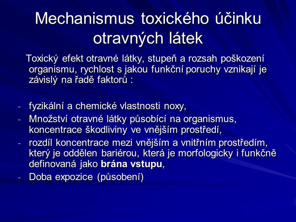 Mechanismus toxického účinku otravných látek Toxický efekt otravné látky, stupeň a rozsah poškození organismu, rychlost s jakou funkční poruchy vznika