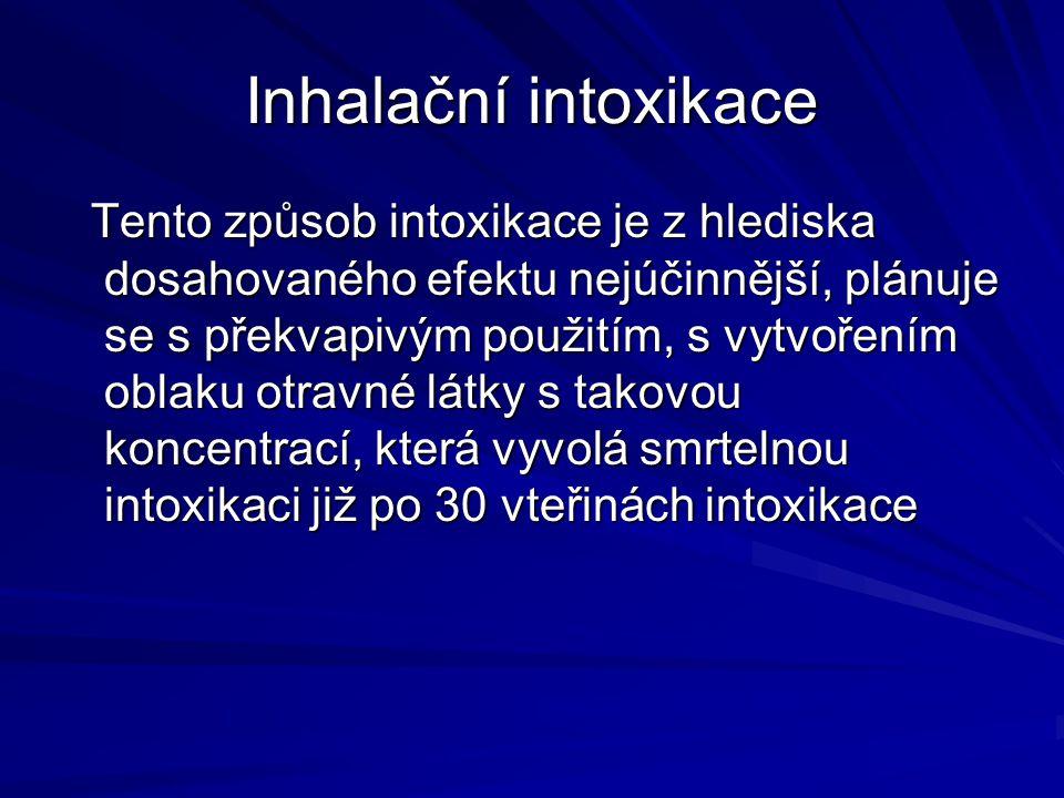 Inhalační intoxikace Tento způsob intoxikace je z hlediska dosahovaného efektu nejúčinnější, plánuje se s překvapivým použitím, s vytvořením oblaku ot