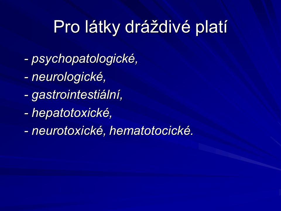 Pro látky dráždivé platí - psychopatologické, - psychopatologické, - neurologické, - neurologické, - gastrointestiální, - gastrointestiální, - hepatot
