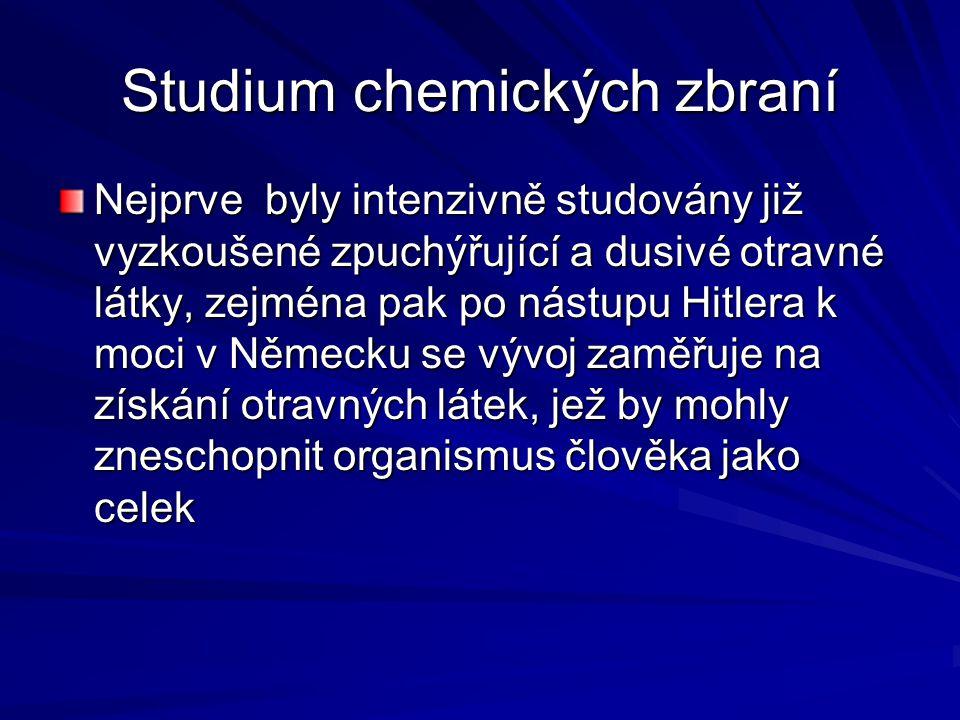 Výzkum otravných látek Výzkum otravných látek Centrem výzkumu se stal koncern IG Farben a pracovní tým profesora G.Schrädera Původním zaměřením byly syntetické pesticidy s insekticidním systematickým účinkem Při ověřování syntetizovaných sloučenin esterů a amidů kyseliny fosforečné bylo zjištěno, že O- ethyl-N,N – dimethylamidofosforylkyanid disponuje extremní toxicitou pro savce.