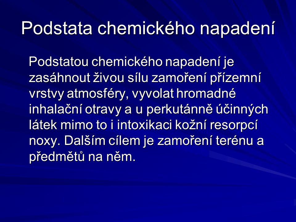 Podstata chemického napadení Podstatou chemického napadení je zasáhnout živou sílu zamoření přízemní vrstvy atmosféry, vyvolat hromadné inhalační otra