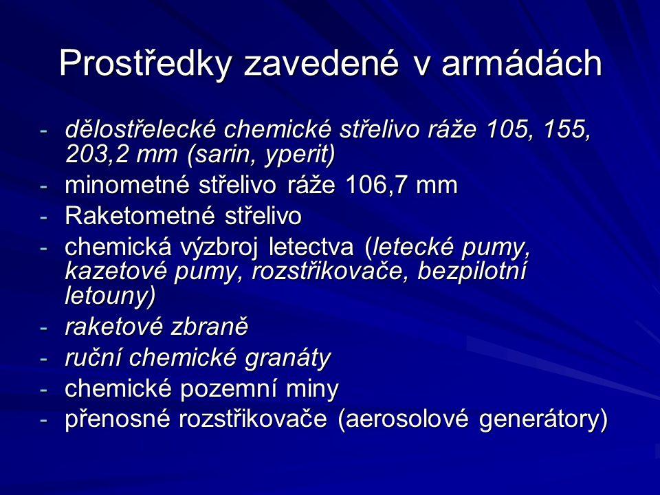 Prostředky zavedené v armádách - dělostřelecké chemické střelivo ráže 105, 155, 203,2 mm (sarin, yperit) - minometné střelivo ráže 106,7 mm - Raketome