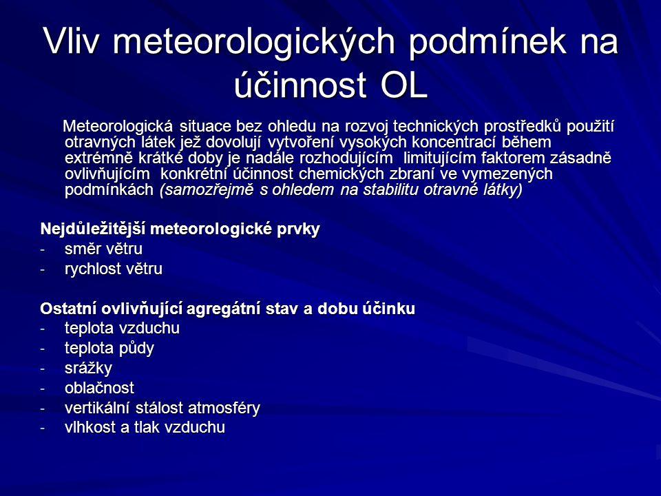 Vliv meteorologických podmínek na účinnost OL Meteorologická situace bez ohledu na rozvoj technických prostředků použití otravných látek jež dovolují