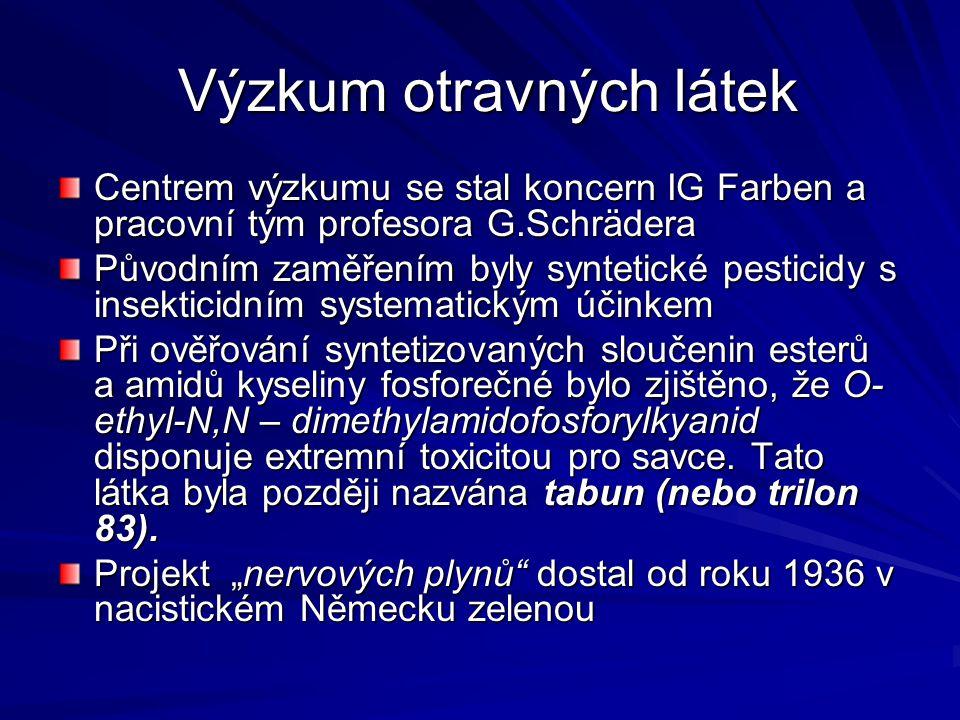 Zneschopňující otravné látky Vyznačují se účinky: Psychomimetickými (halucinace) Psychodislektickými (mentální deprese, ztráta vědomí Hypertermickými (hypertermie, tepelný šok) Hypotenzivními (výrazné snížení krevního tlaku znemožňující jakoukoliv běžnou činnost) Svalově relaxačními Inhibiční na statoakustický aparát Inhibiční na optický aparát Toxickými na ty části centrální nervové soustavy vyvolávající Parkinsonův syndrom