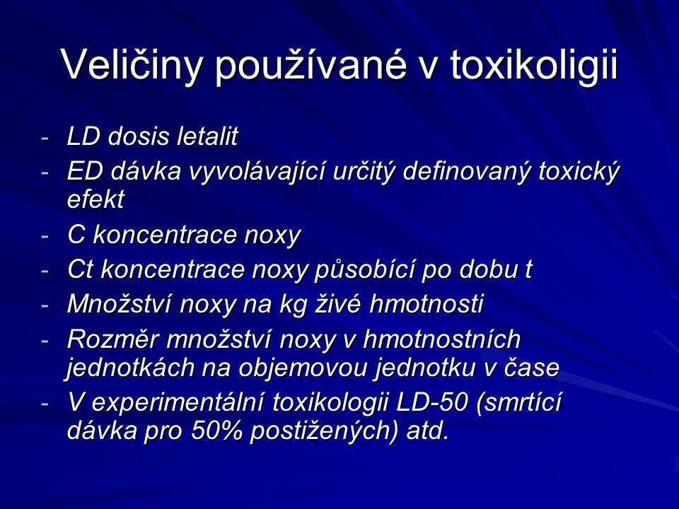Veličiny používané v toxikoligii - LD dosis letalit - ED dávka vyvolávající určitý definovaný toxický efekt - C koncentrace noxy - Ct koncentrace noxy