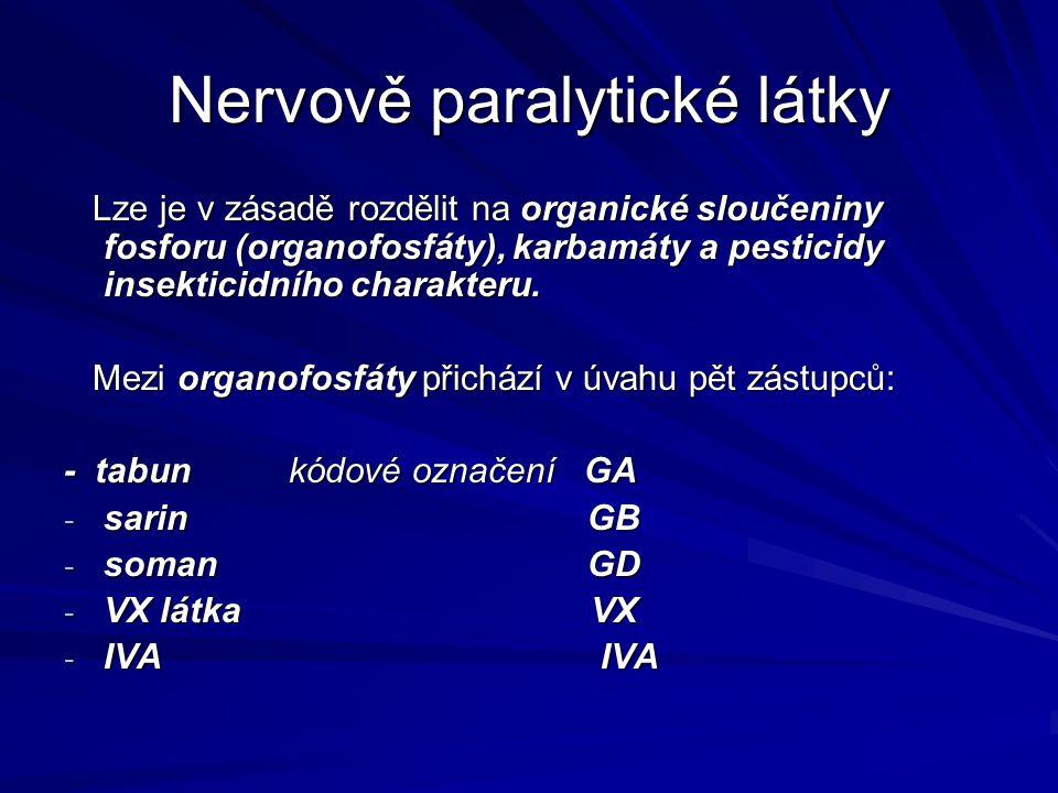 Nervově paralytické látky Lze je v zásadě rozdělit na organické sloučeniny fosforu (organofosfáty), karbamáty a pesticidy insekticidního charakteru. L