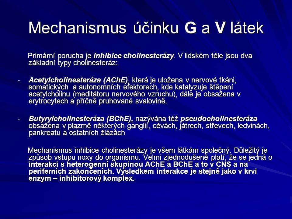 Mechanismus účinku G a V látek Primární porucha je inhibice cholinesterázy. V lidském těle jsou dva základní typy cholinesteráz: Primární porucha je i