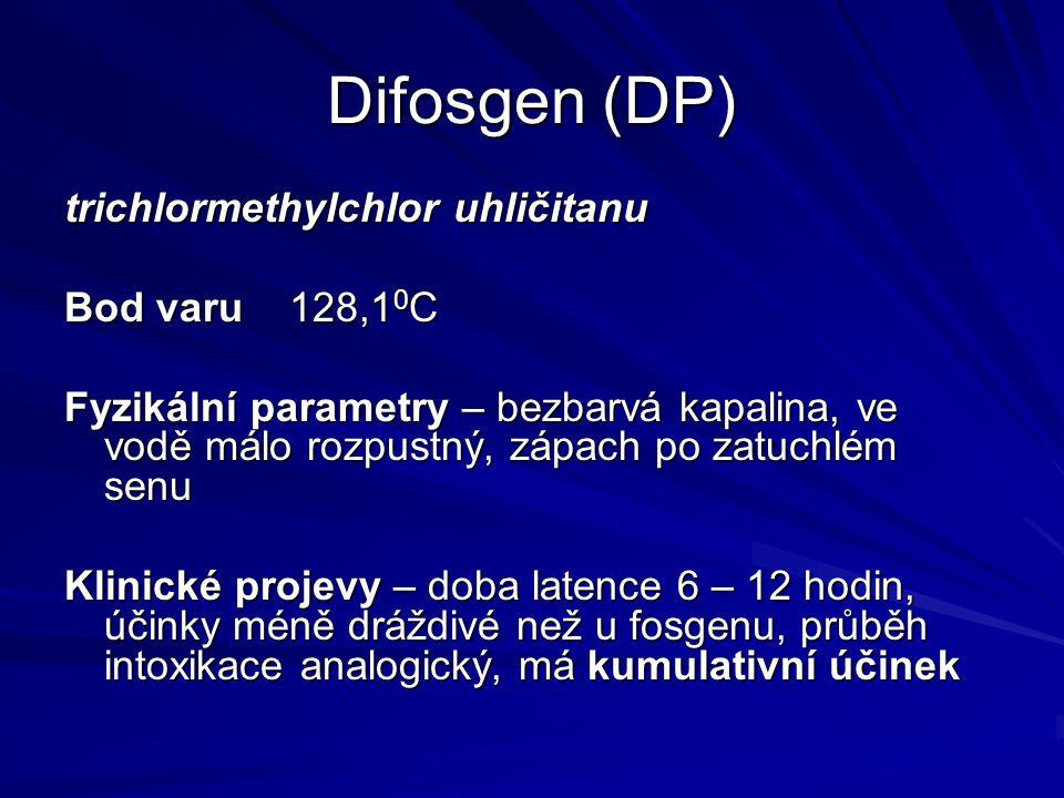 Difosgen (DP) trichlormethylchlor uhličitanu Bod varu 128,1 0 C Fyzikální parametry – bezbarvá kapalina, ve vodě málo rozpustný, zápach po zatuchlém s