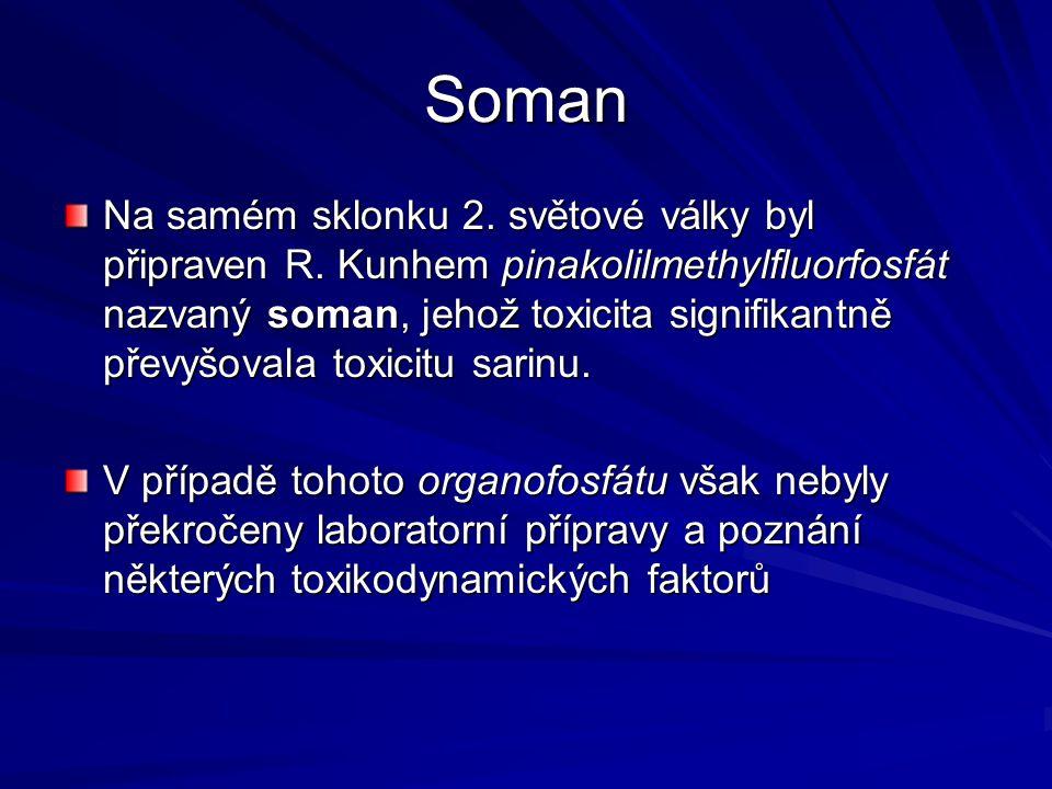 Soman Na samém sklonku 2. světové války byl připraven R. Kunhem pinakolilmethylfluorfosfát nazvaný soman, jehož toxicita signifikantně převyšovala tox