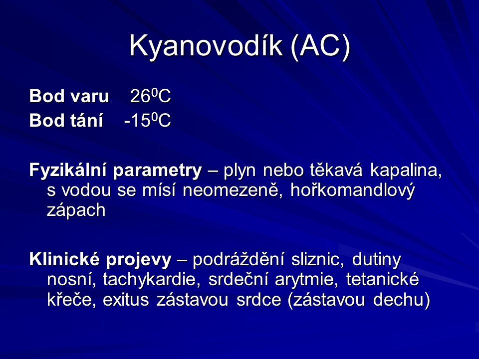 Kyanovodík (AC) Bod varu 26 0 C Bod tání -15 0 C Fyzikální parametry – plyn nebo těkavá kapalina, s vodou se mísí neomezeně, hořkomandlový zápach Klin