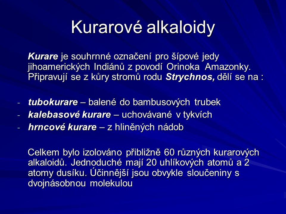 Kurarové alkaloidy Kurare je souhrnné označení pro šípové jedy jihoamerických Indiánů z povodí Orinoka Amazonky. Připravují se z kůry stromů rodu Stry