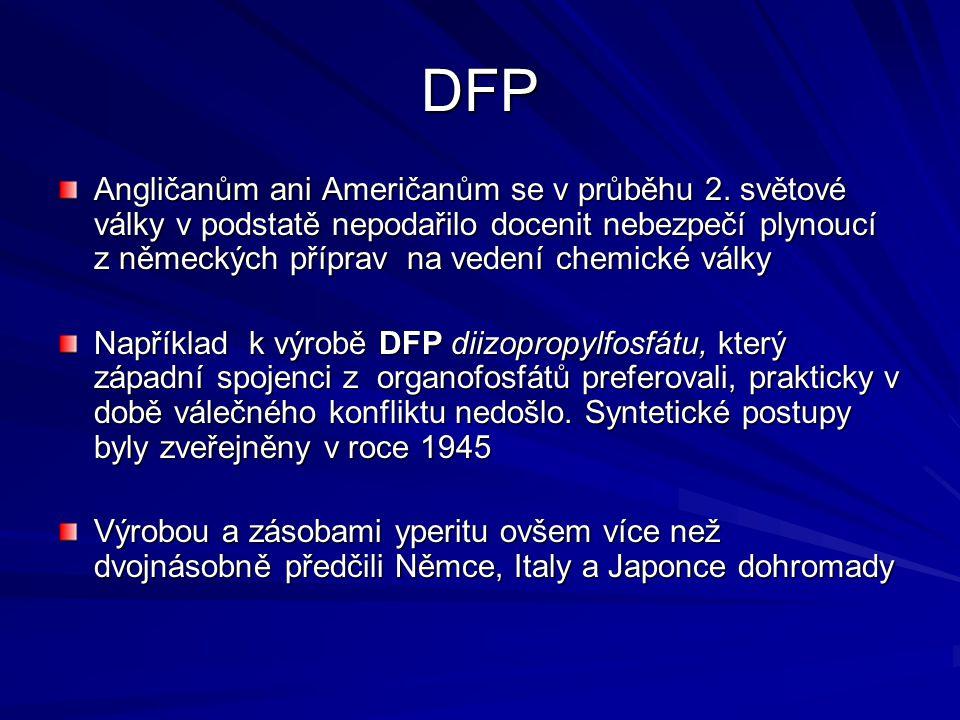 DFP Angličanům ani Američanům se v průběhu 2. světové války v podstatě nepodařilo docenit nebezpečí plynoucí z německých příprav na vedení chemické vá