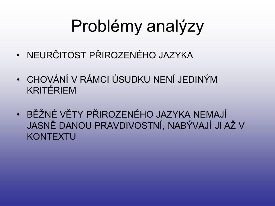 Problémy analýzy NEURČITOST PŘIROZENÉHO JAZYKA CHOVÁNÍ V RÁMCI ÚSUDKU NENÍ JEDINÝM KRITÉRIEM BĚŽNÉ VĚTY PŘIROZENÉHO JAZYKA NEMAJÍ JASNĚ DANOU PRAVDIVO