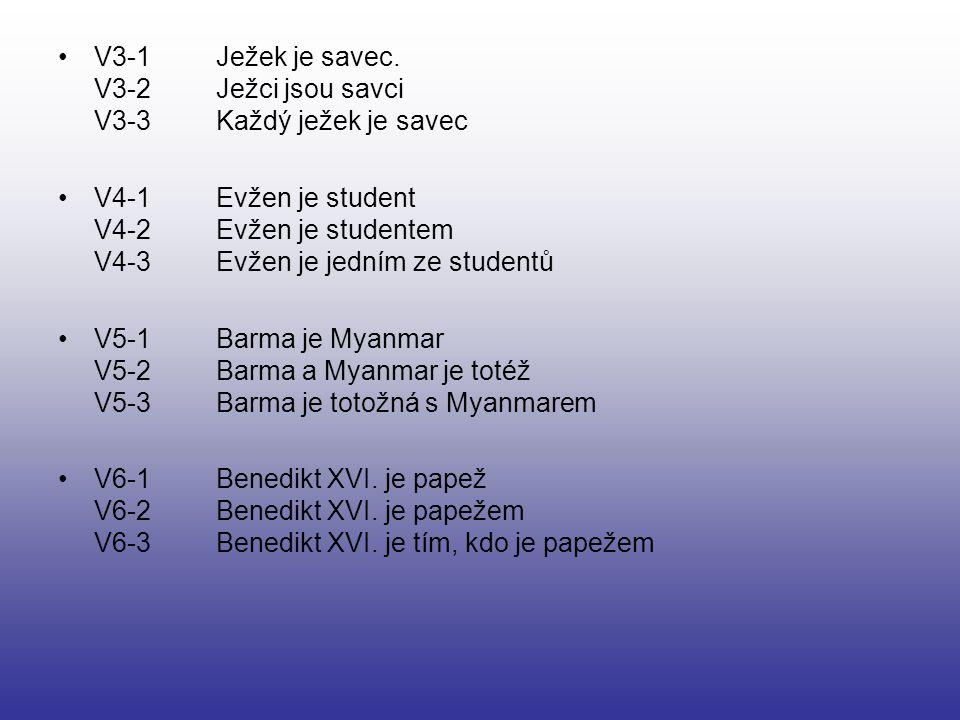V3-1 Ježek je savec. V3-2 Ježci jsou savci V3-3 Každý ježek je savec V4-1 Evžen je student V4-2 Evžen je studentem V4-3 Evžen je jedním ze studentů V5