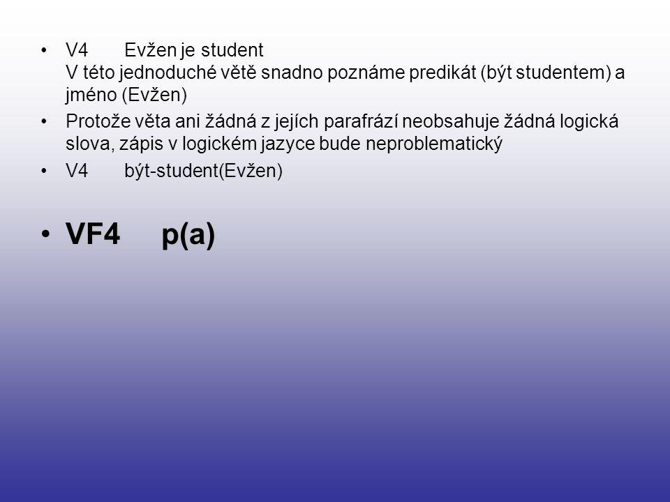 V4 Evžen je student V této jednoduché větě snadno poznáme predikát (být studentem) a jméno (Evžen) Protože věta ani žádná z jejích parafrází neobsahuj