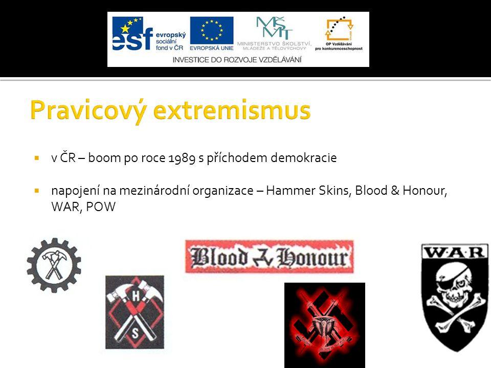  v ČR – boom po roce 1989 s příchodem demokracie  napojení na mezinárodní organizace – Hammer Skins, Blood & Honour, WAR, POW