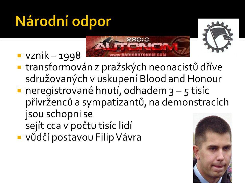  vznik – 1998  transformován z pražských neonacistů dříve sdružovaných v uskupení Blood and Honour  neregistrované hnutí, odhadem 3 – 5 tisíc přívr